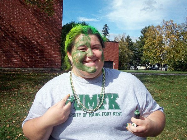 CUT LINE, GRAY: Elizabeth Gray, 18, of Sedgwick poses during the Potato Barrel  soccer game at the University Of Maine at Fort Kent earlier this year. Gray and  a number of other students painted their faces with the college?s colors to show  support for UMFK, which took on the University of Maine at Fort Kent.  (CONTRIBUTED PHOTO)