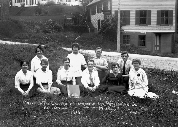 EIP Group Photo 1916: Photo contributed by the Penobscot Marine Museum The crew of Eastern Illustrating Factory poses for a photo in 1916. Eastern Illustrating set up shop on High Street in Belfast in 1909, and became largest manufacturer of real photo postcards. A collection of 50,000 of their glass plate negatives is owned by the Penobscot Marine Museum in Searsport. This group does not include the photographers who would have been on the road and were all men.