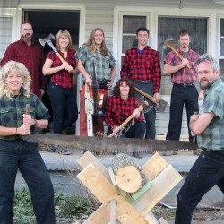 Children learn logrolling skills at Trenton lumberjack show