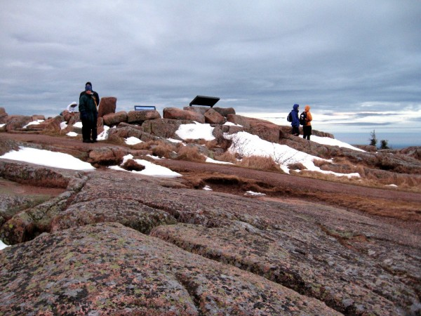 A group of hikers wait for the sunrise on New Year's Day on Cadillac Mountain. Brad Viles photo