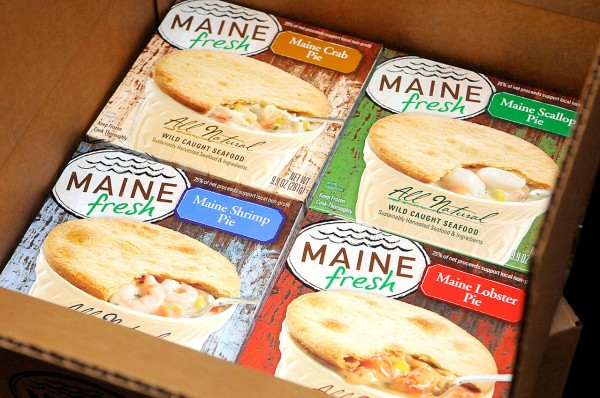 In November Maine Fresh seafood pies started to roll out of the Cobscook Bay Company's production facility at Phinney Fisheries in Trescott, Maine. Photographed in their walk-in refridgerator at Phinney Fisheries  Jan. 6, 2011. So far, they offer a Maine crab pie, Maine shrimp pie, Maine scallop pie and a Maine lobster pie . (Bangor Daily News/John Clarke Russ)