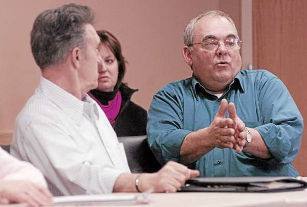 Sen. Doug Thomas (R-Somerset) discusses high-speed internet access during a &quotRed Tape Workshop&quot held at the Newport Cultural Center on Saturday, January 8, 2011. The meeting was part of Gov. LaPage's &quotRed Tape Removal&quot audit, which seeks to eliminate issues hampering job creation in Maine.  (BDN Photo by Kate Collins)