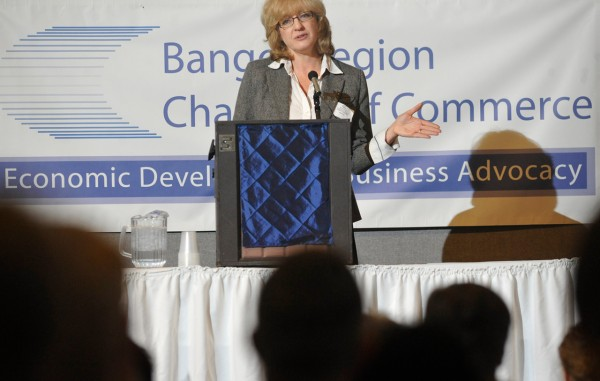Carol Coultas, editor of Mainebiz, was the keynote speaker at the Bangor Region Chamber of Commerce's Annual Business Breakfast at the Morgan Hill Events Center in Hermon Tuesday morning. (Bangor Daily News/ John Clarke Russ)