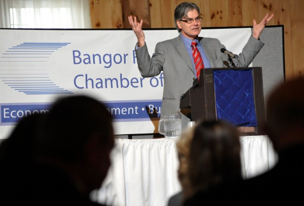 Addressing fellow chamber members, John Porter, president of the Bangor Region Chamber of Commerce, recaps the chamber's progress over the past year during the chamber's annual business breakfast at the Morgan Hill Events Center in Hermon Tuesday morning. (Bangor Daily News/ John Clarke Russ)