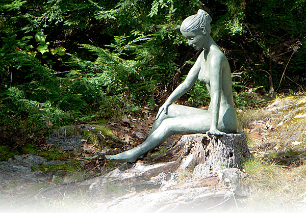 &quotBella,&quot a sculpture created by Thomas Moser in the winter of 2010, is cast in bronze sits by the woods at Moser's Maine home. Moser founded and owns Thos. Moser, a Maine handcrafted furniture company. Moser has worked with wood for 39 years, and has just recently decided to work with clay, bronze and the human form. Five bronze &quotBellas&quot have been created so far, and four of them are on display in various Thos. Moser showrooms throughout the U.S. The closest Bella is at his showroom in Boston.