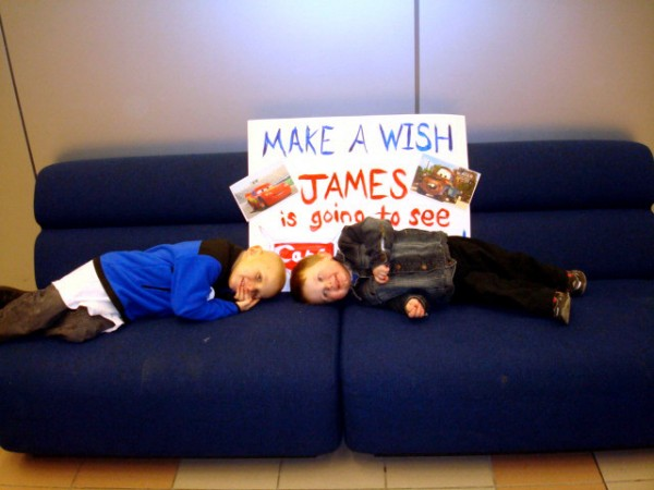 ames Kennedy, 5, of Rockland waits with his brother Travis (right) to board a plane that will bring him on a trip to Walt Disney World? courtesy of the Make-A-Wish Foundation of Maine. The Foundation does not receive discounts on airline tickets and is asking for frequent fliers to donate their miles and help wishes take flight.