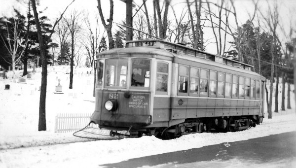 Trolleys provided visitors and residents transportation within Bangor, as well as to and from nearby communities, in the early 1990s. This car was built circa 1910 in Philadelphia and, as one of the larger cars, would serve the city for many years. In the  19030s, Mount Hope Cemetery, seen in the background of the Bangor Hydro-Electric Company trolley, built a waiting room for those awaiting trolley car transport to or from the cemetery. Trolley car service ended in the 1940s. Courtesy of Bangor Public Library