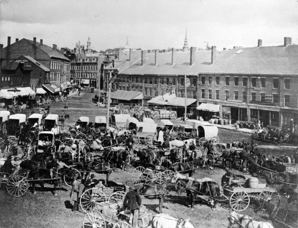 Seen here from a vantage point facing Broad Street, Pickering Square was a hub of business activity in the 1800s. Courtesy of Bangor Public Library