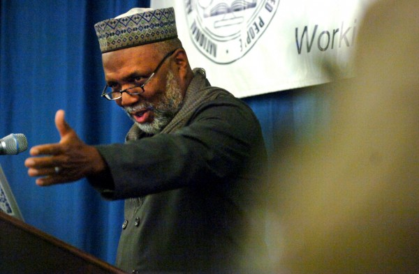 Imam Johari Abdul-Malik, Director of Outreach at the Dar Al Hirjrah Islamic Center in Falls Church, Virginia, addresses the audience during the 15th Annual Martin Luther King, Jr., Breakfast held on Monday, January 17, 2011, at the Wells Conference Center at the University of Maine in Orono. Imam Johari was the keynote speaker at the event, which also included music, reflection, and remarks by NAACP, local, state, and university officials. (BDN Photo by Kate Collins)