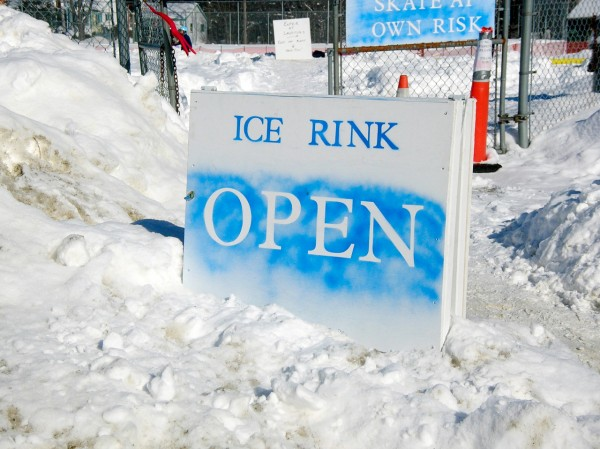 The bright blue sight declares that the new city ice rink in Ellsworth is open. The rink, the handiwork of the city's recreation committee and a group of volunteers, opened earlier this month adn has proven to be a popular addition to the community. BDN Photo by Rich Hewitt