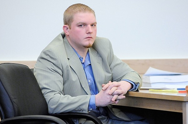 Defendant David Churchill, 26, of Fort Fairfield turned his attention towards journalists seated in the gallery as his defense attorney, Hunter Tzovarras (not pictured), addressed the jury during opening arguments in Churchill's trial at Penobscot County Judicial Center Tuesday, Jan. 18, 2011. Churchill is charged with sexually assaulting his ex-girlfriend's 12-year-old daughter in the summer of 2009. (Bangor Daily News/John Clarke Russ)