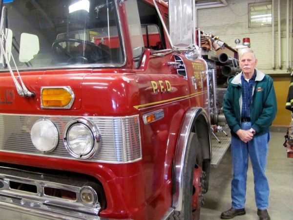 Pittsfield Fire Chief Bernard Williams explains why the department's 31-year-old &quotEngine 1,&quot pictured, needs to be replaced in this January 19, 2011 photo. Williams said the vehicle is so antiquated that it recently took five weeks for the town to receive some basic parts for an exhaust repair. (Bangor Daily News/Christopher Cousins)