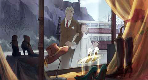 Tatisheff (left) peers through a shop window with Alice in Sylvain Chomet's &quotThe Illusionist,&quot which was recently nominated for Best Animated Feature by the Academy Awards.