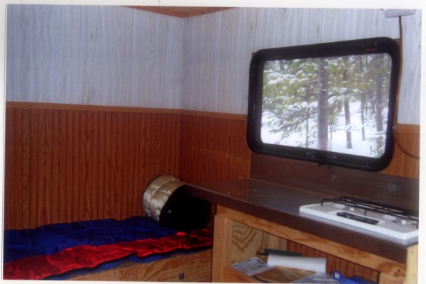 Randy Perkins of Glenburn refers to his shack as a &quotcamp on ice.&quot This shack was first started in 2008 with the construction of the 7x10 metal frame and skis, and has evolved into this. Photo Courtesy of Randy Perkins