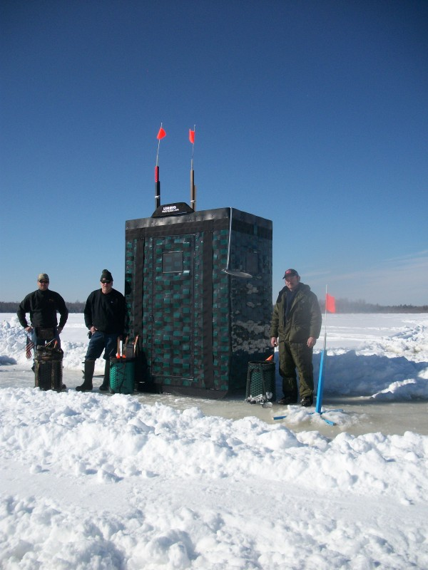What could be original than a pack basket ice shack,with ice fishing traps , and skimmer,pack straps