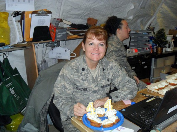 U.S. Air Force Lt. Col. Bridget Brozyna celebrates her 44th birthday at Bagram Airfield in Nov. 2010.