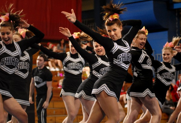 BANGOR, ME -- JANUARY 29, 2011 -- Houlton performs their routine at the 2011 Eastern Maine Regional Cheerleading Competition at the Bangor Auditorium Saturday January 29, 2011.  Houlton took first place in Class C and will advance to the State Championship on Feb. 12.