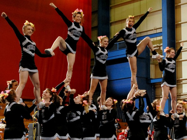 BANGOR, ME -- JANUARY 29, 2011 -- Houlton performs a pyramid during their routine at the 2011 Eastern Maine Regional Cheerleading Competition at the Bangor Auditorium Saturday Jan. 29, 2011.  Houlton placed first in Class C and advances on to the State Championship on Feb. 12, 2011.