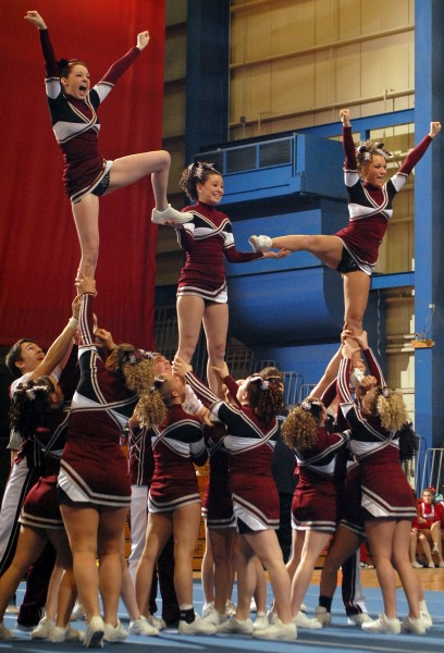 Orono performs a pyramid during the Eastern Maine Class C cheering regional at the Bangor Auditorium Saturday.