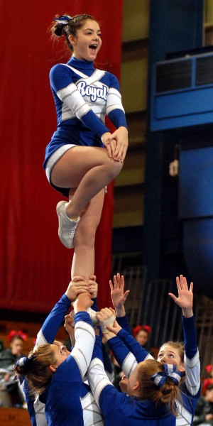 BANGOR, ME -- JANUARY 29, 2011 -- Brooke Beal performs a liberty during Jonesport-Beals routine at the 2011 Eastern Maine Regional Cheerleading Competition at the Bangor Auditorium Saturday Jan. 29, 2011.  Jonesport-Beals took second place in Class D and will advance to the State Championship on Feb. 12, 2011.