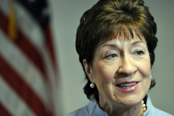 U.S. Sen. Susan Collins joined area officials and business leaders at the Bangor Police Dept. for a news conference Tuesday morning to discuss new efforts to raise the federal highway truck weight limit on Maine's highways.