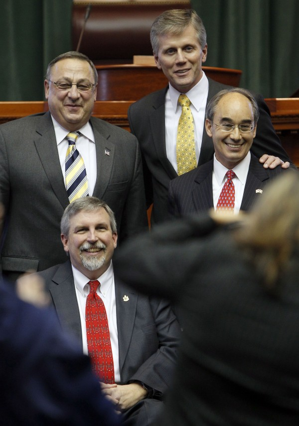 Gov. Paul LePage (top left) poses with Secretary of State Charles Summers (top center), Treasurer Bruce Poliquin (far right), and Attorney General Bill Schneider on Thursday, Jan. 6, 2011, at the State House in Augusta, Maine.