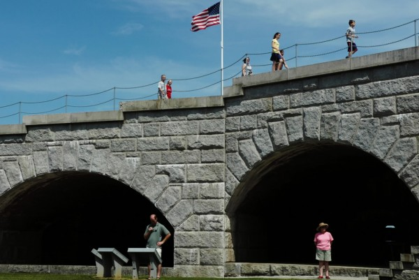 Tourists enjoy the pleasant weather over the Fourth of July holiday weekend while visiting Fort Knox in Prospect in 2008. The fort was established in 1844 and named for America's first secretary of the war, Maj. Gen. Henry Knox.