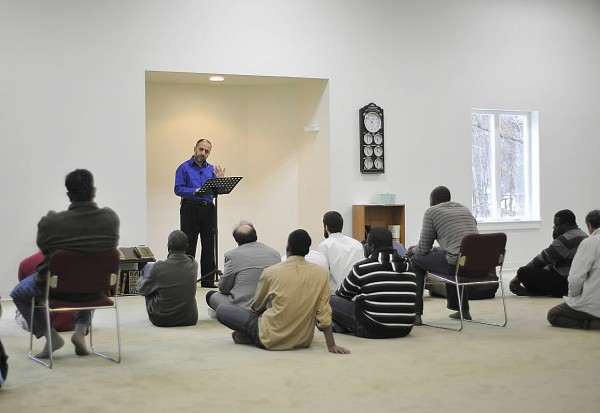 Dr. Mohammad Tabbah delivers a discourse in the new mosque in Orono that was completed in January 2010. The mosque held its first open house in March 2010.