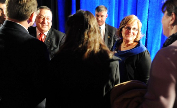 Governor Paul LePage and his wife Ann LePage talk to supporters in a receiving line during the Inagural Reception at the Augusta Civic Center Wednesday.