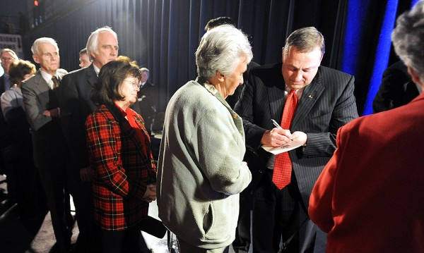 Governor Paul LePage signed autographs for many of his supporters in a receiving line during the Inagural Reception at the Augusta Civic Center Wednesday.