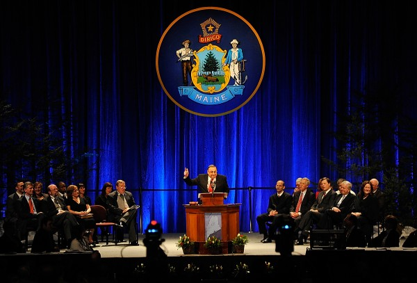 Maine's new governor, Paul LePage, delivers his inaugural address at the Augusta Civic Center early Wednesday afternoon.