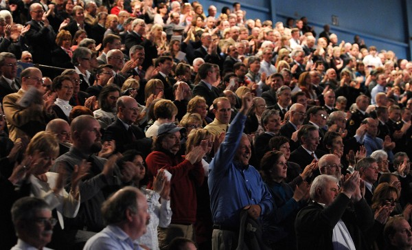 The crowd reacts to Paul LePage's inaugural address at the Augusta Civic Center on Wednesday.