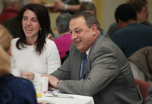 Gov. Paul LePage speaks with fellow diners Monday at  the Waterville Rotary Club's annual Dr. Martin Luther King, Jr. Community Breakfast in Waterville.