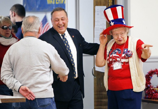 Republican Gov.-elect Paul LePage chats after voting Nov. 2 in Waterville.