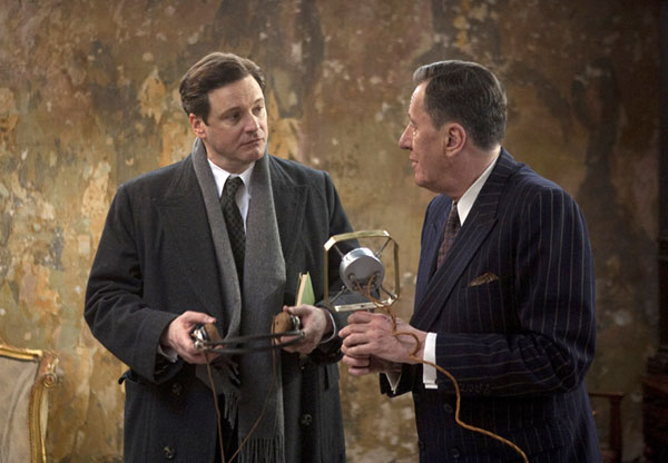 In this film publicity image released by The Weinstein Company, Collin Firth (left) and Geoffrey Rush are shown in a scene from &quotThe King's Speech.&quot The film was nominated for 12 Academy Awards on Tuesday, including best picture, best director, best supporting actress, Firth for best actor and Rush for best supporting actor. The Oscars will be presented Feb. 27 at the Kodak Theatre in Hollywood.