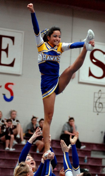 Hermon High's Katie Raynosa holds a heel stretch in the PVC Cheering Competition at Ellsworth High School on Saturday January 15, 2011.  Hermon placed first.