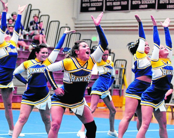 The Hermon High School cheerleading team competes during the PVC Large School championship at Ellsworth Saturday. Hermon won the title.