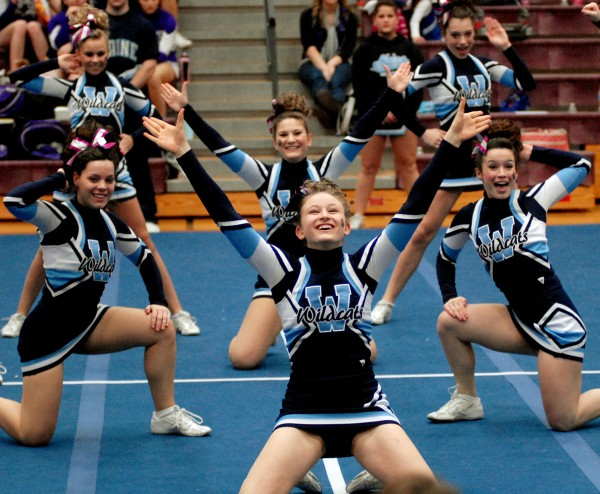 Presque Isle's Wildcats placed third in the PVC Cheering Competition at Ellsworth High School on Saturday January 15, 2011.