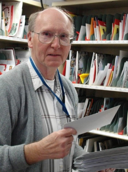 Barry Ellis of Parkman, a rural carrier for the Sangerville post office, placed his last letters in their appropriate slots Friday. Ellis, who has worked as a rural carrier for 21 years, retired effective Friday.