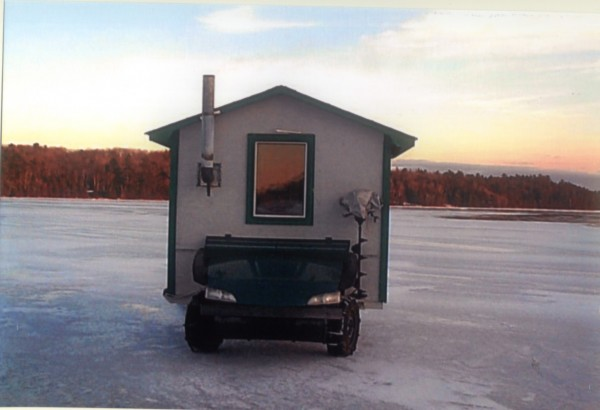 Al Conary and Robin Foskett conspired to build this self-propelled ice shack.