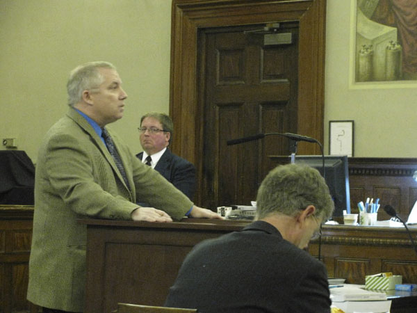 Attorney Jeffrey Toothaker of Ellsworth, who is acting as standby counsel for accused school hostage-taker Randall Hofland, made the opening argument for the defense at Waldo County Superior Court on Tuesday.