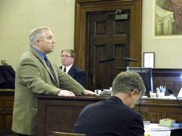 Attorney Jeffrey Toothaker (left) of Ellsworth, who is acting as standby counsel for accused school hostage-taker Randall Hofland, makes the opening argument for the defense at Waldo County Superior Court on Tuesday.