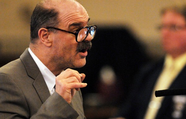 Randall Hofland makes a point to the jury as he offers his closing arguments in Waldo County Superior Court on Friday.