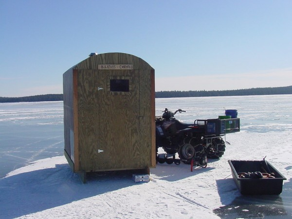I needed an ice shack that made me &quotfishing mobile&quot with the comforts of camp. Roof design that shed rain/snow, will track in ATV trails, and light enough to handle myself. Shack has a 11&quot x 11&quot x 18&quot wood burning stove for cooking, and bench for creature comforts that will keep 1-2 men fishing strong.