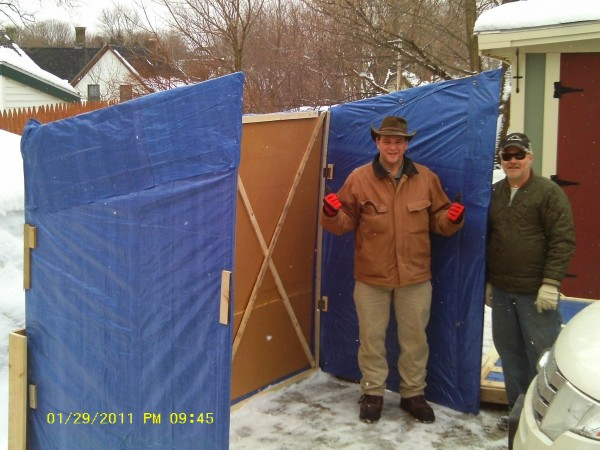 OUR SHACK TRANSPORTS FOR ON SIGHT ASSEMBLY JUST 5MINUTES YOU AND A BUDDY ARE READY ITS SO EASY A CAVEMAN CAN DO IT UP FIRST IS THE WALLS CONNECT THEM AT THE REAR AND LIFT ROOF INTO PLACE SIDE FRONT PANEL AND FRONT PANEL WITH DOOR AND YOUR DONE. ROOF DOUBLES AS THE SLED TO TRANSPORT THE PACKAGE TARE WEIGHT 95LB