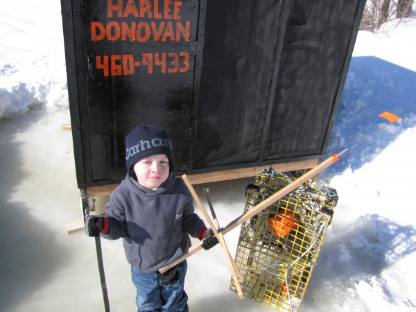 Harlee Oleson loves is daddy so much, and wants to be just like him. So together they built an ice tent. Harlee got to pick the theme and help build the whole thing. His daddy is a lobstermen in Bass Harbor