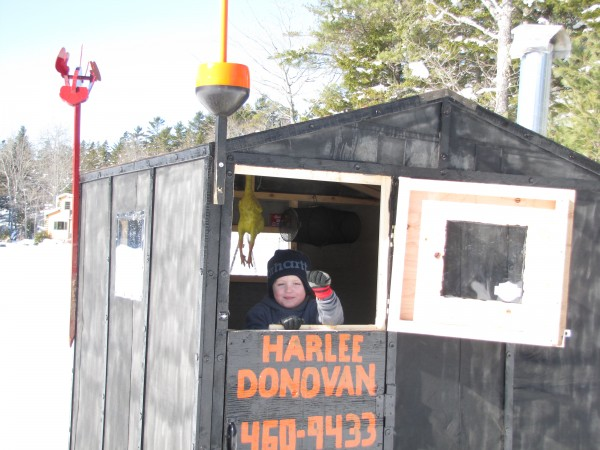 Harlee Oleson of Trenton loves is daddy so much, and wants to be just like him. So together they built an ice tent. Harlee got to pick the theme and help build the whole thing. His daddy is a lobstermen in Bass Harbor