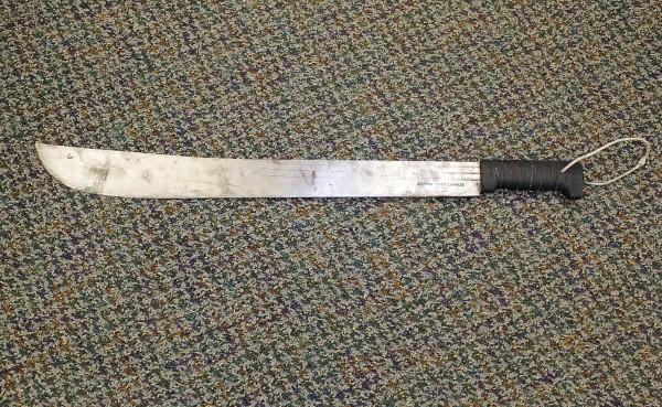 A man reportedly wielded this 2-foot-long machete in Sept. 2010 as he tried to steal drugs from the Main Street Rite Aid, according to police.