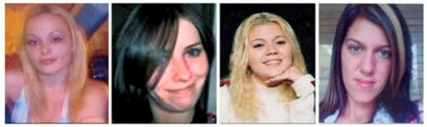 This combination of photos provided by the Suffolk County Police Department shows, from left, Melissa Barthelemy, of New York's Erie County; Maureen Brainard-Barnes, of Norwich, Conn.; Megan Waterman, of Scarborough, Maine; and Amber Lynn Costello, of North Babylon, N.Y.