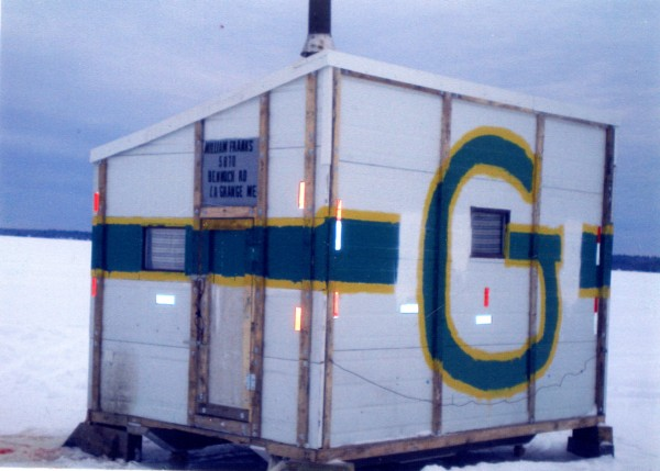 This is my &quotPack Shack.&quot I got it out on the ice just in time for the Super Bowl. We are originally from Wisconsin so it's only fitting. It took me about two months to build. It's made out of insulated garage doors.
